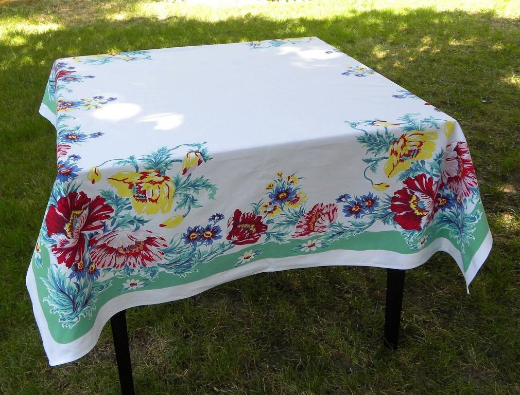 Vintage E/S Town U0026 Country Tablecloth Green Border With Pink Blue And  Yellow Poppies