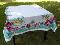 Vintage E/S Town & Country Poppy Tablecloth - The Pink Rose Cottage