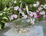 Large Vintage Silver Plated Handled Basket England - The Pink Rose Cottage