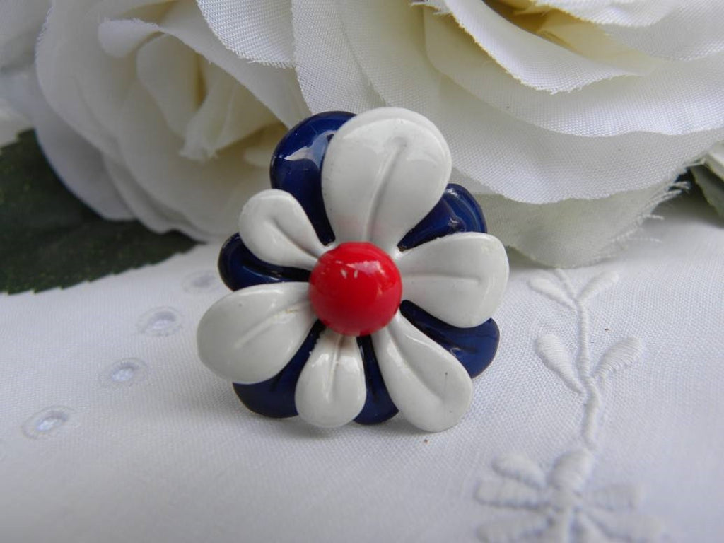 Vintage Red White Blue Patriotic Flower Enameled Ring - The Pink Rose Cottage