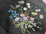 Vintage Black Mourning Handkerchief with Wildflowers Bouquet - The Pink Rose Cottage