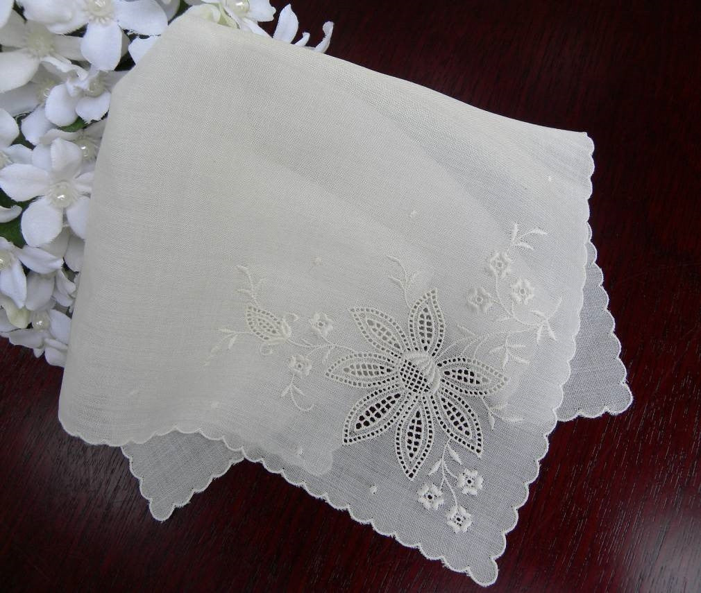 Unused Vintage Cutwork Whitework Embroidery Bridal Handkerchief - The Pink Rose Cottage