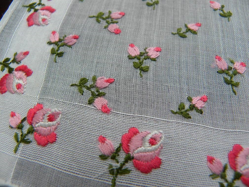 Vintage embroidered pink roses handkerchief the