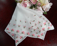 Vintage Embroidered Pink Roses Handkerchief - The Pink Rose Cottage