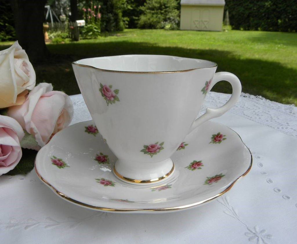 Vintage Soft Pink with Pink Roses Teacup and Saucer - The Pink Rose Cottage