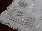 Vintage Embroidered Bridal Handkerchief with Whitework Pullwork and Darnwork - The Pink Rose Cottage