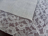 Vintage French Alencon Lace and Linen Wedding Handkerchief - The Pink Rose Cottage