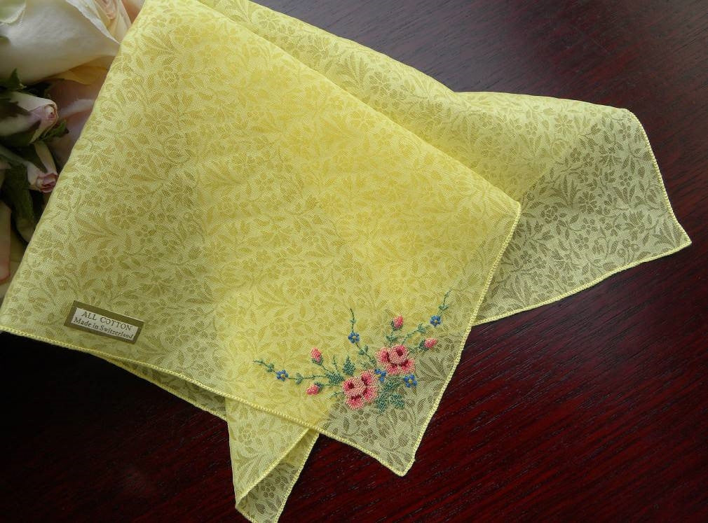 Vintage Sheer Yellow Chintz Handkerchief with Pink Roses - The Pink Rose Cottage