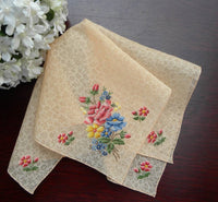 Vintage Sheer Peach Chintz Handkerchief with Petite Point Roses - The Pink Rose Cottage