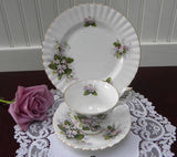Royal Albert Mayflower Pink Violet Teacup Saucer and Plate - The Pink Rose Cottage