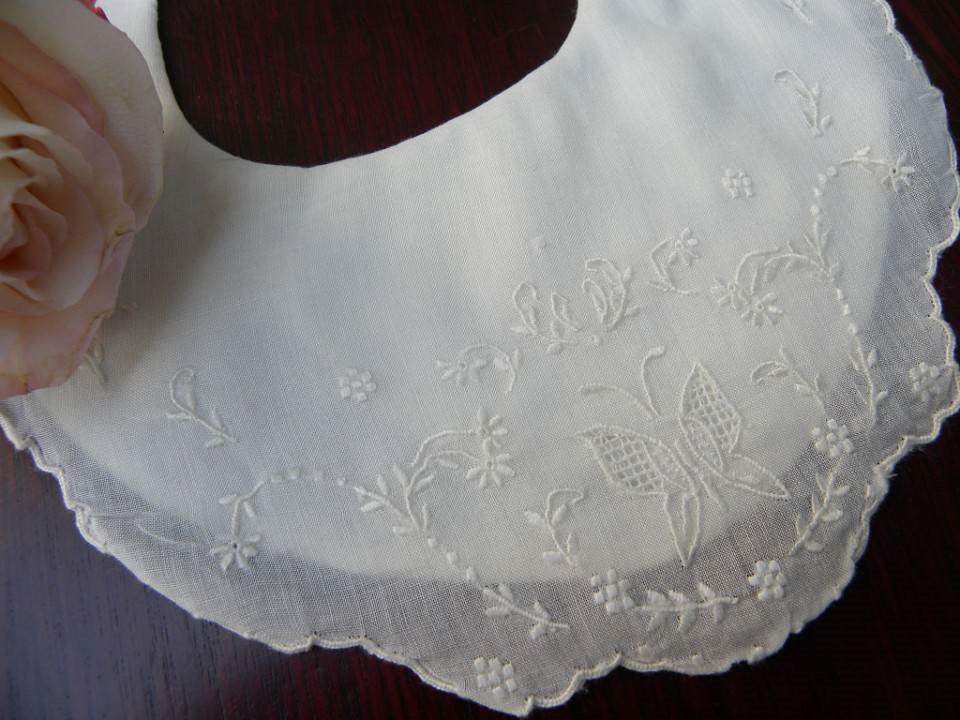 Vintage Whitework Embroidery Christening Newborn Bib - The Pink Rose Cottage
