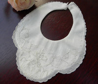 Vintage Whitework Embroidery Bell Flower Christening Newborn Bib - The Pink Rose Cottage