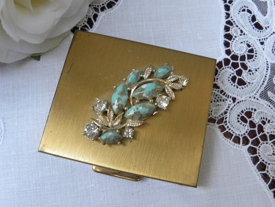 Vintage Turquoise and Rhinestone Powder Compact - The Pink Rose Cottage