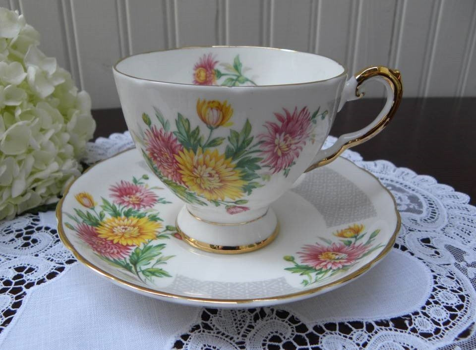 Vintage Tuscan Birthday Flowers November Mums Teacup and Saucer - The Pink Rose Cottage