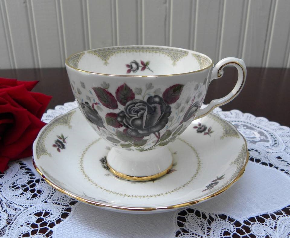 Vintage Tuscan Midnight Black Rose Teacup and Saucer - The Pink Rose Cottage