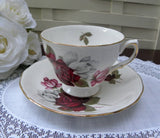 Vintage Red White and Pink Rose Teacup and Saucer - The Pink Rose Cottage
