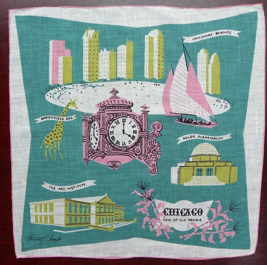 Vintage Tammis Keefe Chicago Handkerchief - The Pink Rose Cottage