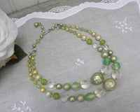 Vintage Shades of Green Double Strand Beaded Necklace - The Pink Rose Cottage