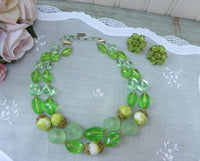 Vintage Bright Green Beaded Necklace and Earrings - The Pink Rose Cottage