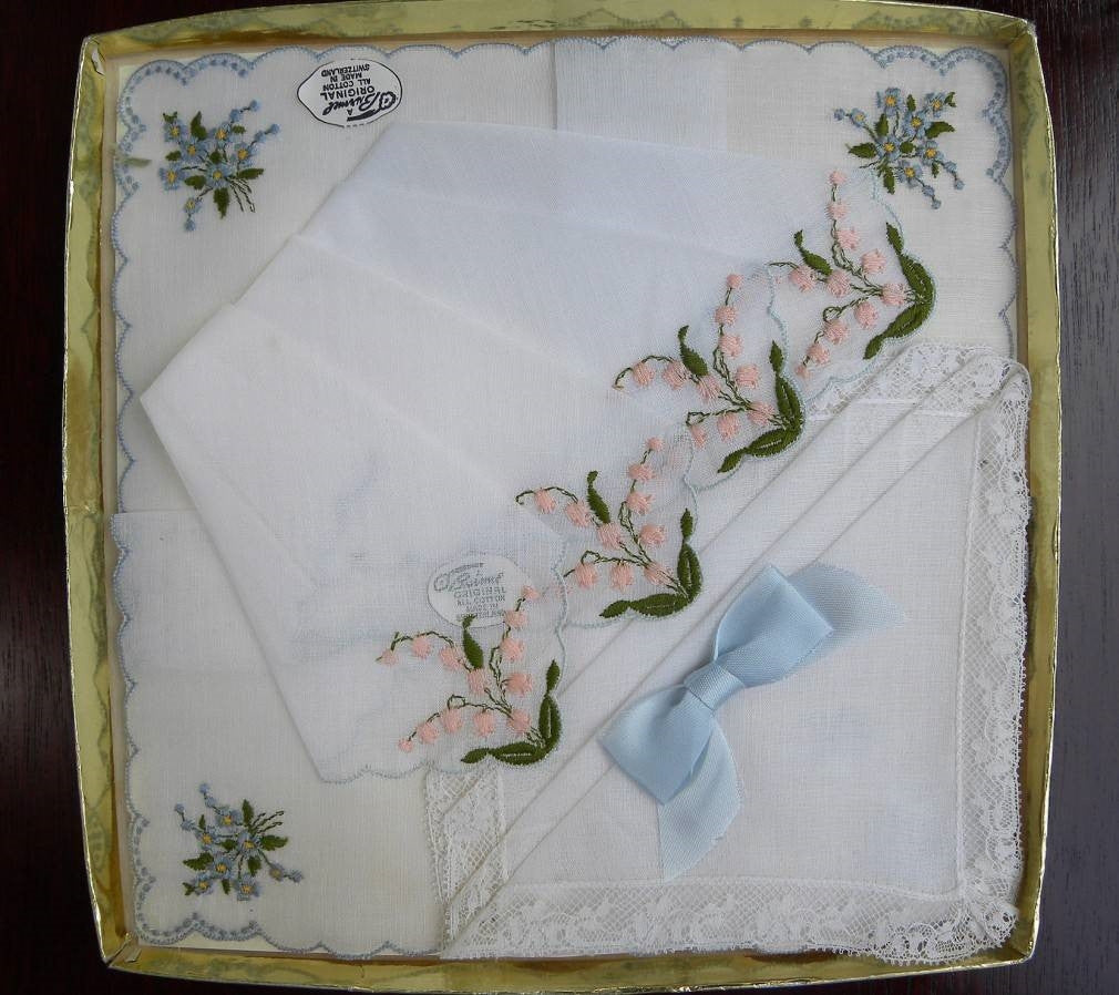 Vintage Unused Brumel Boxed Lily of the Valley Lace and More Bridal Handkerchiefs - The Pink Rose Cottage