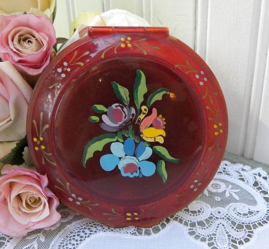 Vintage Hand Painted Flower Powder Compact - The Pink Rose Cottage