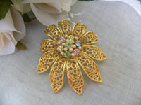 Vintage BSK Pastel & Pearl Rhinestone Flower Brooch Pin - The Pink Rose Cottage