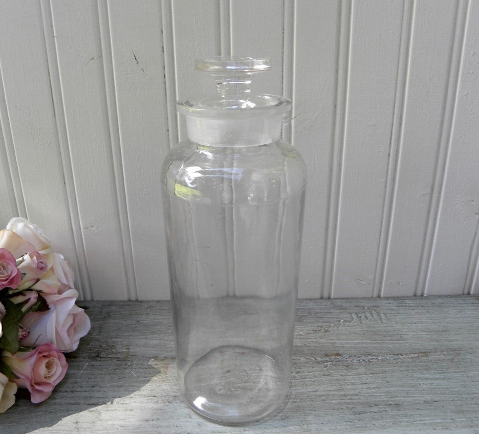 Old Round Tall Apothecary Jar - The Pink Rose Cottage