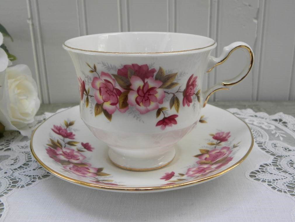 Vintage Queen Anne Pink Wild Rose Teacup and Saucer - The Pink Rose Cottage