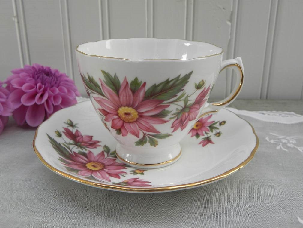 Vintage Pink Chrysanthemums Teacup and Saucer - The Pink Rose Cottage