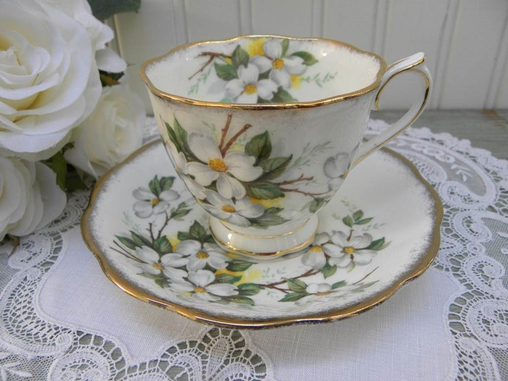 Vintage Royal Albert White Dogwood Teacup and Saucer - The Pink Rose Cottage