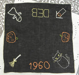 Vintage Embroidered Halloween Handkerchief with Pumpkins and Ghosts - The Pink Rose Cottage