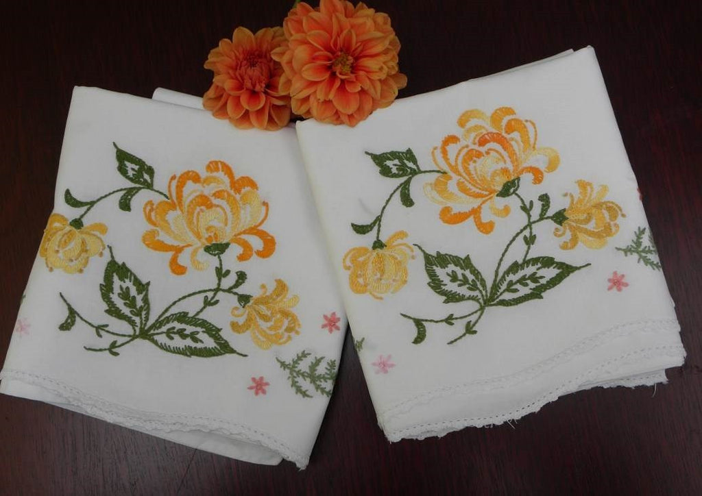 Vintage Embroidered Autumn Chrysanthemums Pillowcases - The Pink Rose Cottage