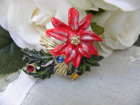 Vintage Christmas Poinsettia  Pin Brooch - The Pink Rose Cottage