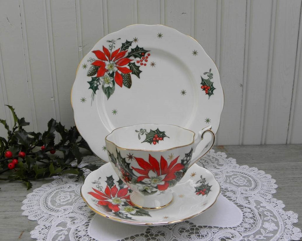 Vintage Noel Poinsettia Christmas Teacup Saucer and Luncheon Plate - The Pink Rose Cottage