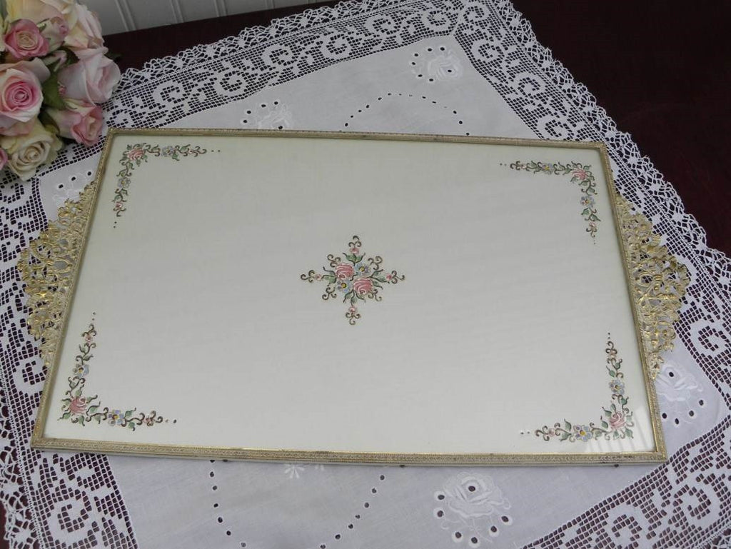 Vintage Hand Painted Pink Roses Vanity Tray - The Pink Rose Cottage