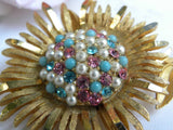 Vintage Rhinestone and Pearls Daisy Mum Brooch - The Pink Rose Cottage