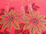 Vintage Gold Metallic Christmas Poinsettia & Candles Red Tablecloth - The Pink Rose Cottage