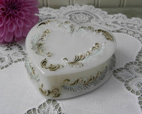 Antique Painted Milk Glass Heart Shaped Trinket Box - The Pink Rose Cottage