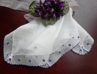 Vintage Embroidered Violets Ruffled Handkerchief - The Pink Rose Cottage