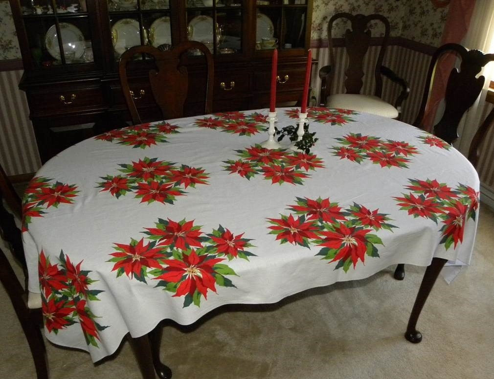Large Vintage Christmas Poinsettia Tablecloth