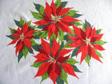Large Vintage Christmas Poinsettia Tablecloth - The Pink Rose Cottage