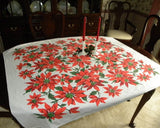 Vintage Christmas Poinsettia Tablecloth - The Pink Rose Cottage