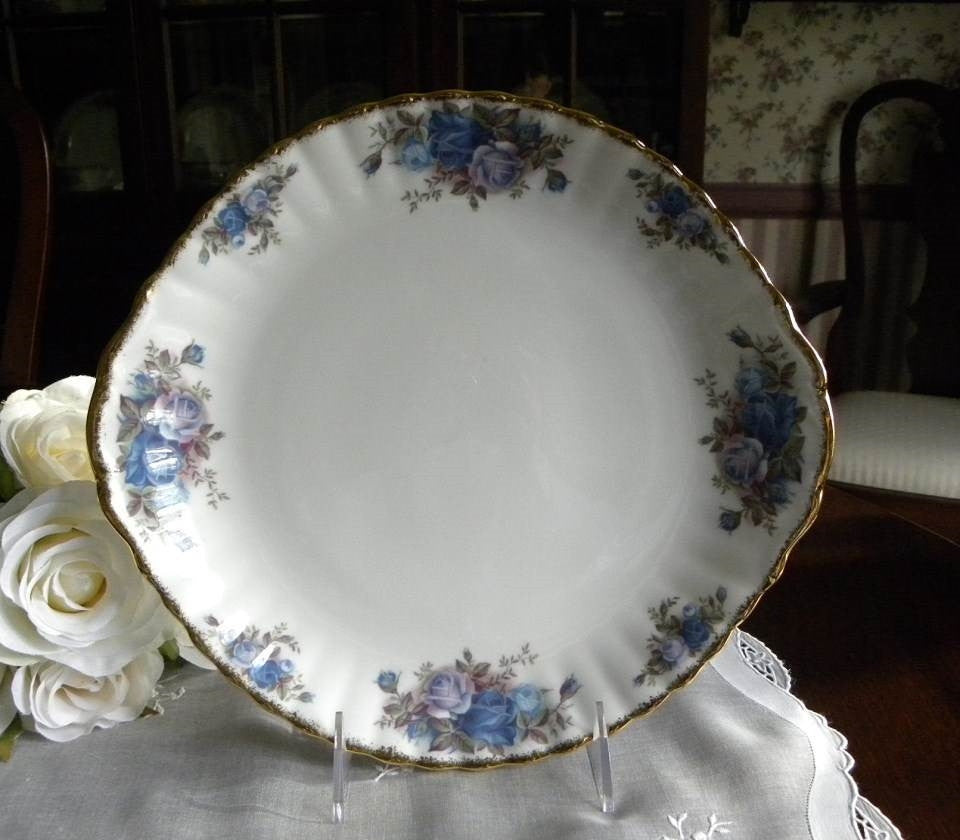 Royal Albert Blue Moonlight Rose Cake Plate Server - The Pink Rose Cottage