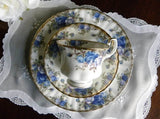 Royal Albert Blue Moonlight Rose Teacup Saucer and Luncheon Plate - The Pink Rose Cottage