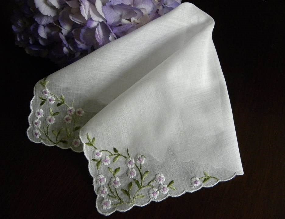 Vintage White and Lilac Embroidered Flowers Handkerchief - The Pink Rose Cottage