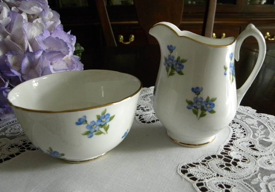 Vintage Sugar and Creamer with Forget Me Nots - The Pink Rose Cottage