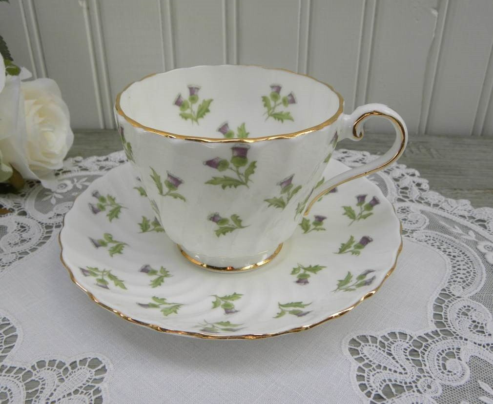 Vintage Aynsley Thistle Teacup and Saucer - The Pink Rose Cottage