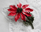 Vintage Enameled Christmas Stemmed Poinsettia  Pin Brooch - The Pink Rose Cottage