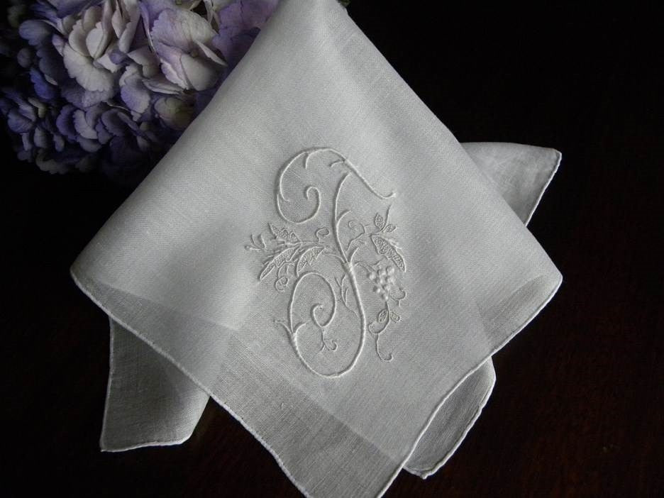 Vintage Madeira Linen Grapevine Monogram F Bridal Handkerchief - The Pink Rose Cottage