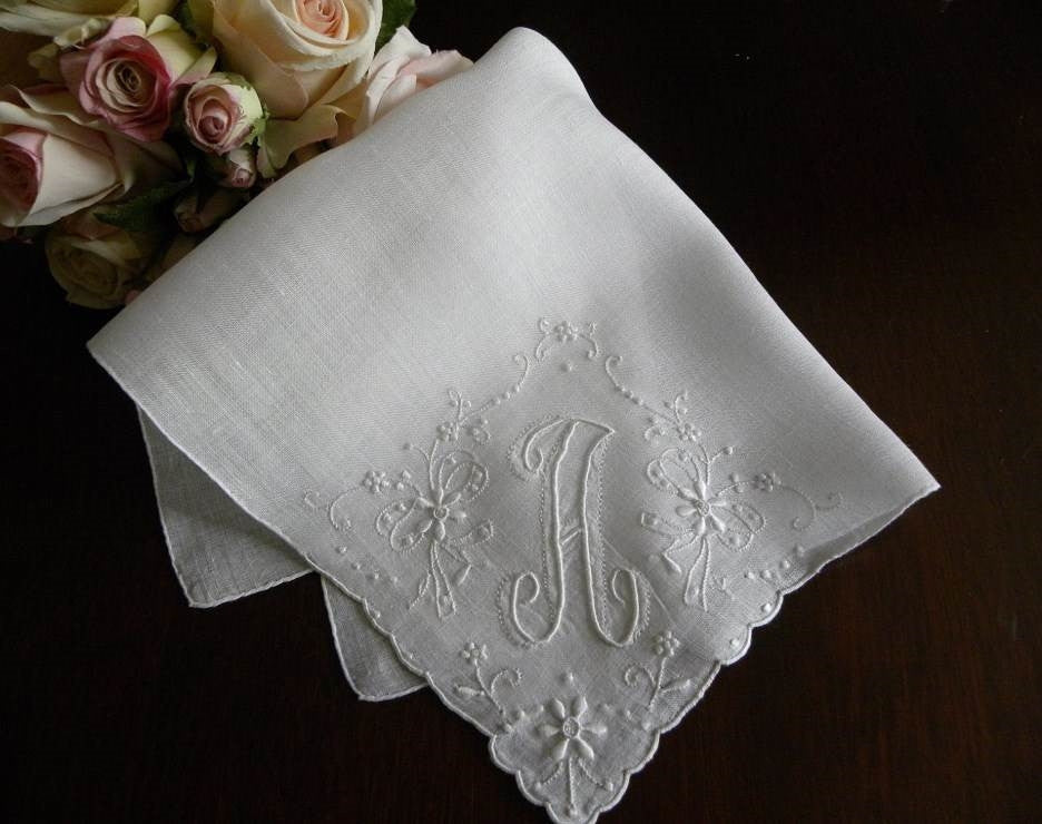 Vintage Madeira  Monogram A  Bridal Handkerchief - The Pink Rose Cottage